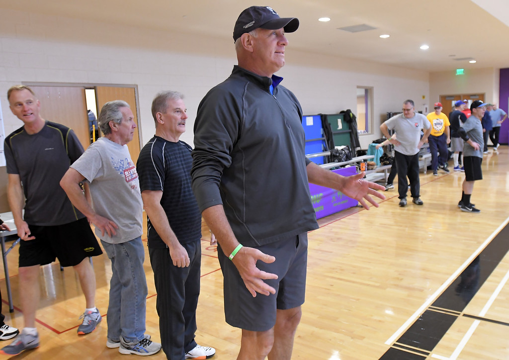. Ernie Ritterhaus of Troy gets ready for a running exercise during softball practice at the Rochester Older Persons Commission on March 26, 2018. (Digital First Media Gallery by David Dalton)