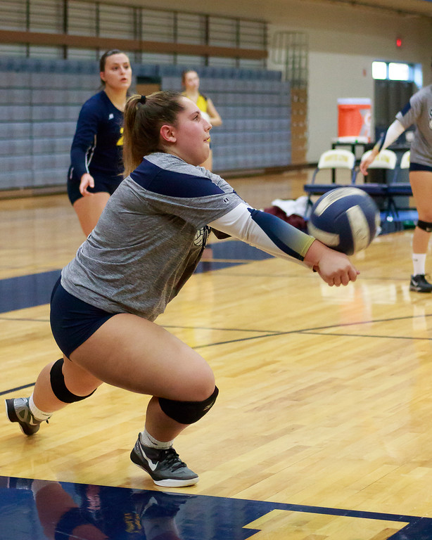 . South Lyon dominated their match Wednesday night against South Lyon East, taking a straight set victory 25-16, 25-15, and 25-16 to move to 14-1-2 on the season. (Oakland Press photo by Timothy Arrick)