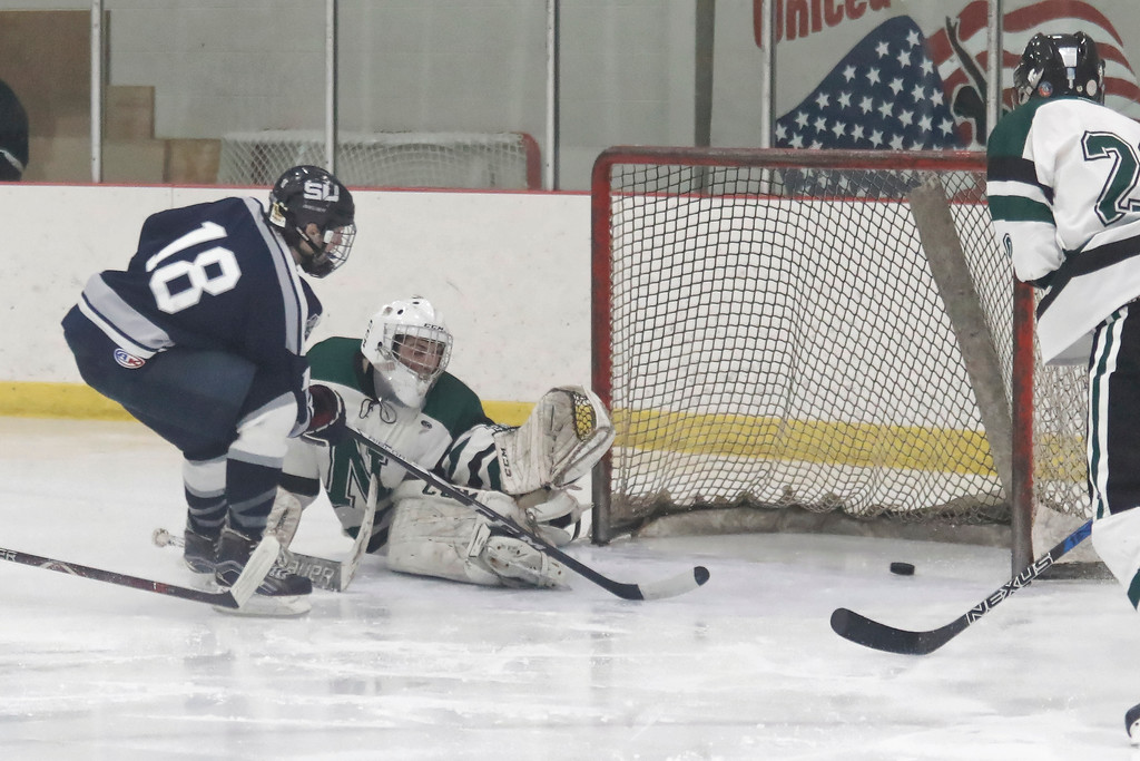 . Ashton Jones (18) nets his first goal of the night for South Lyon United as they defeated Novi 4-3 Tuesday February 27, 2018 in Novi to move on to the Regional Final match-up on Saturday against the winner of Livonia Stevenson and Canton.(Oakland Press photo by Timothy Arrick)