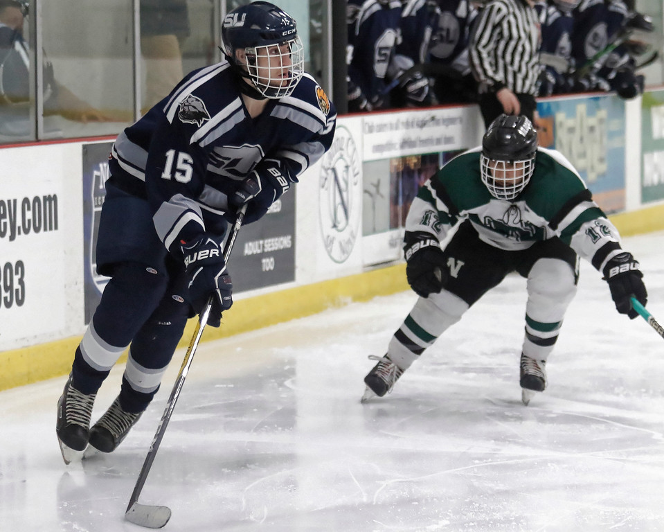 . South Lyon  United built a 4-2 lead with 4:27 left in the game and goalie Andrew Lowen survived a Novi onslaught as the South Lyon squad held on to move to the Regional Finals on Saturday with a 4-3 victory Tuesday February 27, 2018 in Novi. (Oakland Press photo by Timothy Arrick)