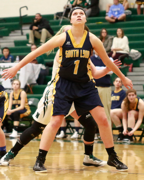 . Mikayla Lynch and Ellie MacKay paced Novi with 10 points a piece as the Wildcats defeated South Lyon Wednesday night 49-22 at Novi High School. (Oakland Press photo by Timothy Arrick)