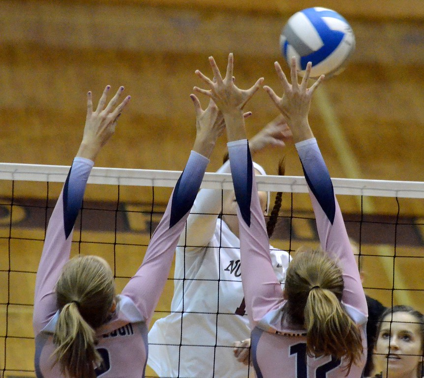 . South Lyon completed a perfect run through the Lakes Valley Conference on Tuesday with a 25-22, 25-16, 25-14 win over Walled Lake Northern on Tuesday. (Oakland Press photo by Drew Ellis)