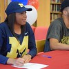 Southfield A&T's Deja Church and Michael Flowers signed their National Letters of Intent to play college basketball at the University of Michigan and Western Michigan, respectively. (MIPrepZone photo by Matthew B. Mowery)