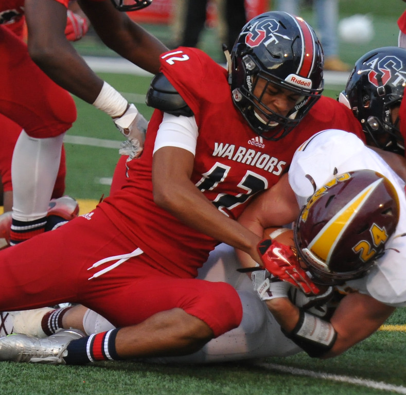 . The Davison Cardinals defeated the Southfield A&T Warriors 56-54 in triple overtime in the Xenith Prep Kickoff Classic game played on Thursday August 24, 2017 at Wayne State University.  (Oakland Press Photo by Ken Swart)