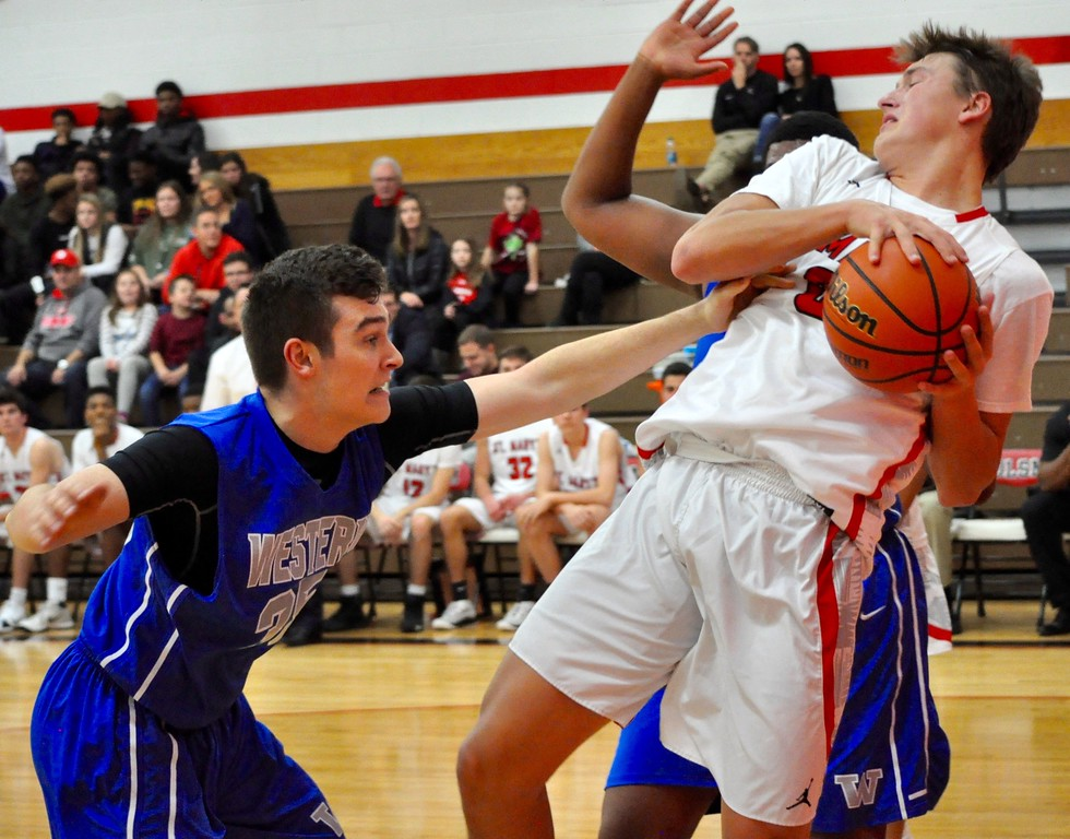 . Orchard Lake St. Mary�s hosted Walled Lake Western for a season-opening boys basketball game on Tuesday, Dec. 5, 2017. (Photos by Dan Fenner/The Oakland Press)