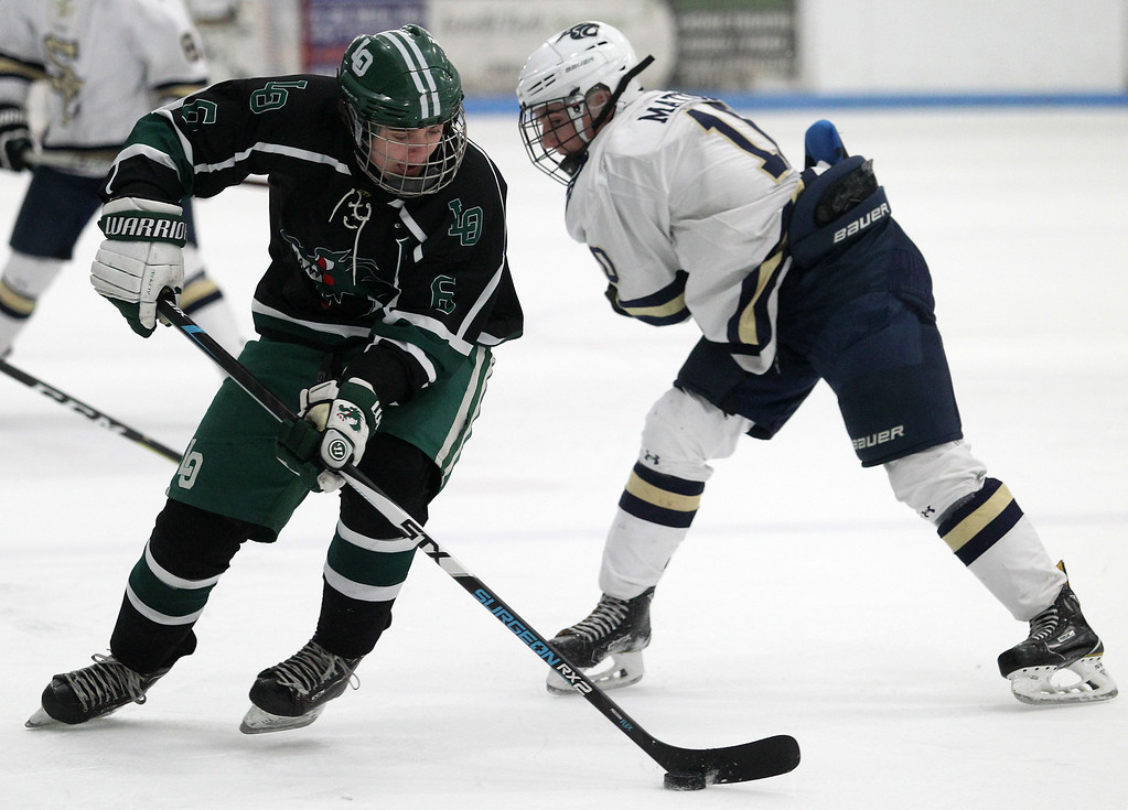 . The Lake Orion Dragons defeat the Cougars of Rochester Stoney Creek 3-2 in varsity hockey action at the Onyx Ice Arena Saturday, Feb. 24, 2018. (For The Oakland Press / LARRY McKEE)