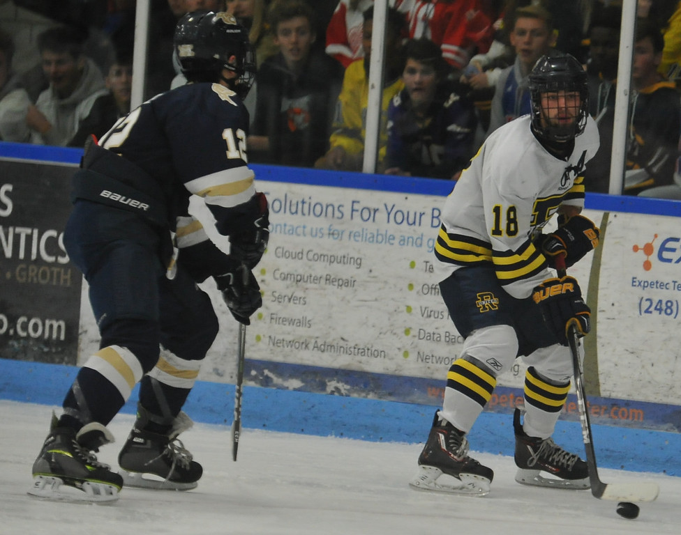 . The Stoney Creek Cougars defeated Rochester United 4-1 in the game played on Wednesday November 22, 2017 at the Onyx Ice Arena in Rochester Hills.  (Oakland Press Photo by Ken Swart)