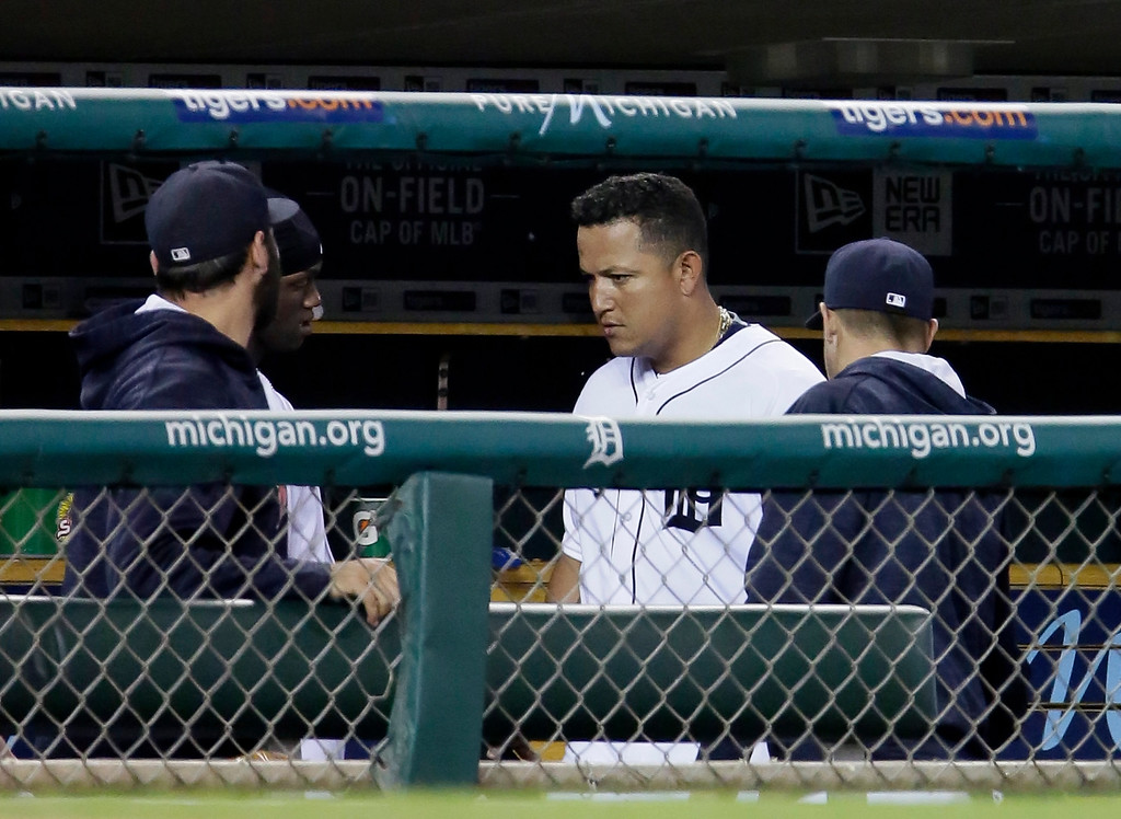 . Detroit Tigers\' Miguel Cabrera walks through the dugout after leaving the game during the seventh inning of a baseball game against the Chicago White Sox Friday, June 3, 2016, in Detroit. Cabrera left the game after advancing to third base on a single by J.D. Martinez. (AP Photo/Duane Burleson)