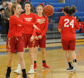 The Troy Athens Redhawks defeated the Rochester Falcons 35-28 in the OAA White match up played on Thursday Feb. 22, 2018 at Rochester High School.  The Falcon seniors were honored prior to the game.  (Oakland Press photo by Ken Swart)