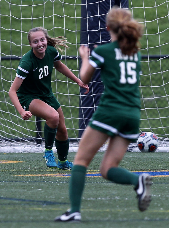 . Julia Stadtherr (20), Novi, celebrates scoring a goal with teammate Avery Fenchel, during Division 1 semifinal soccer action at Rochester Stoney Creek High School Tuesday, June 12, 2018. Stadtherr\'s goal turned out to be the winning goal in the Wildcats 4-1 victory over the Colts. (For The Oakland Press / LARRY McKEE)