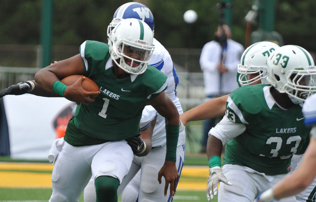 . The Walled Lake Western Warriors defeated the West Bloomfield Lakers 19-14 in the Xenith Prep Kickoff Classic game played on Thursday August 24, 2017 at Wayne State University.  (Oakland Press photo by Ken Swart)
