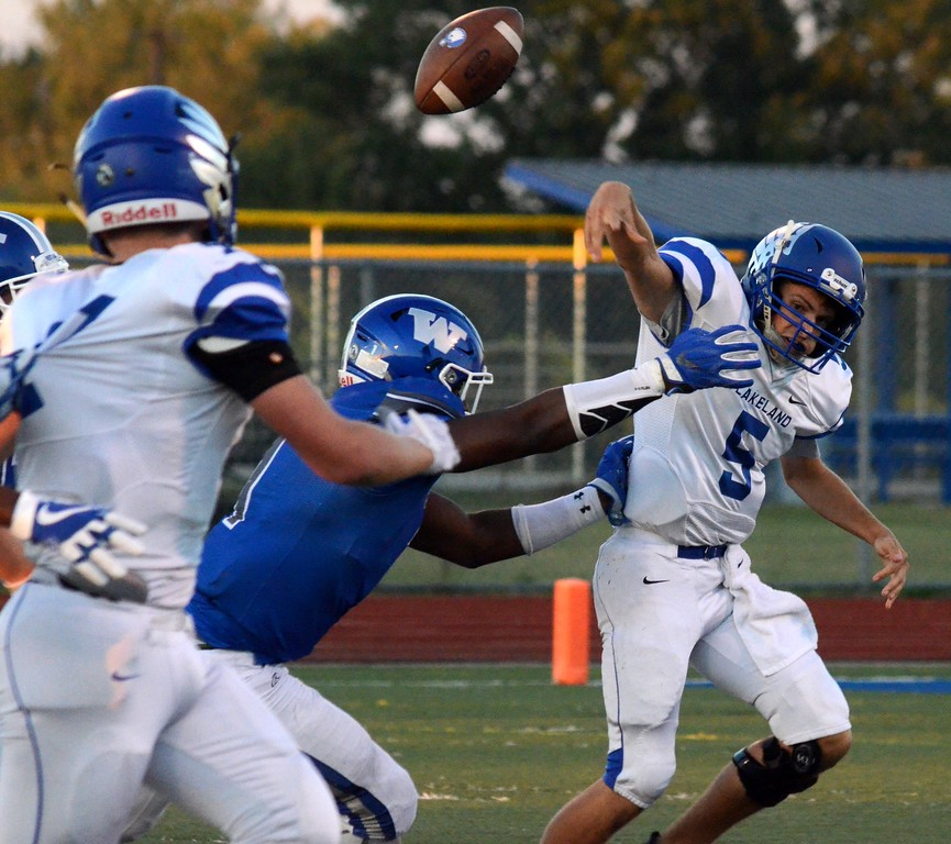 . Walled Lake Western edged Lakeland, 13-11, in a Lakes Valley Conference game at Walled Lake Western High School on Thursday. (Oakland Press photo by Drew Ellis)