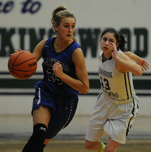 Waterford Our Lady of the Lakes' Isabelle Kline moves up court past Cranbrook Kingswood's Adina Alterman during the game played on Friday January 11, 2019.  Kline had a game high 25 points to help lead the Lakers to a 45-36 win. (Digital First Media photo by Ken Swart)