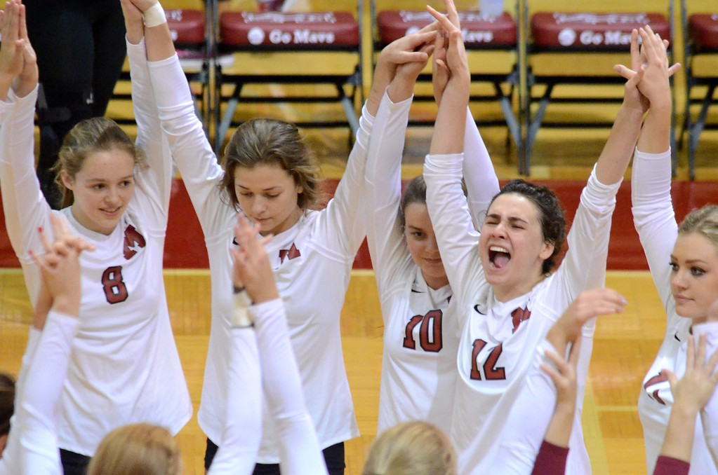 . Milford opened Lakes Valley Conference volleyball play on Tuesday when it hosted Walled Lake Northern. The Mavericks came away with the win in five sets, 25-18, 20-25, 26-24, 20-25, 15-11. (Oakland Press photo by Drew Ellis)