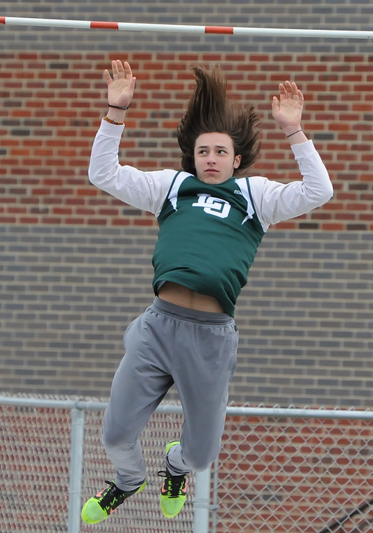. Zach Dinverno of Lake Orion won the individual pole vault title clearing 12\' even during the 45th annual Ashley/Brennan Relays that were held on Saturday April 28, 2018 at Waterford Mott HS.  Lake Orion won both the boys and girls title. (Oakland Press photo by Ken Swart)