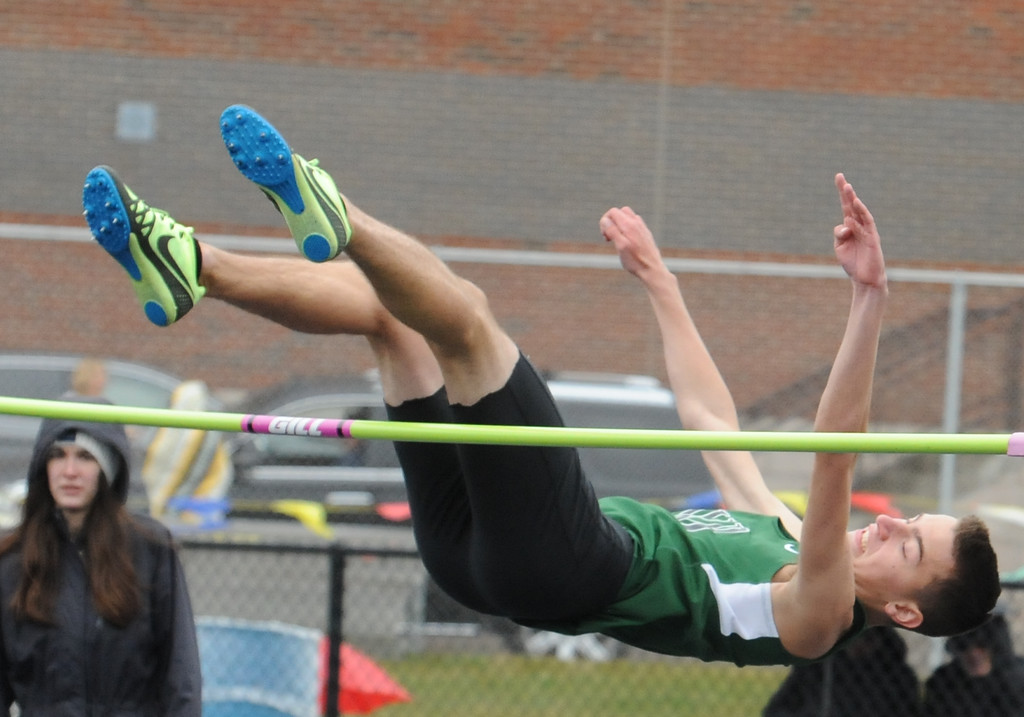 . Connor Rumple of West Bloomfield competes in the high jump event during the 45th annual Ashley/Brennan Relays that were held on Saturday April 28, 2018 at Waterford Mott HS.  Lake Orion won both the boys and girls title. (Oakland Press photo by Ken Swart)