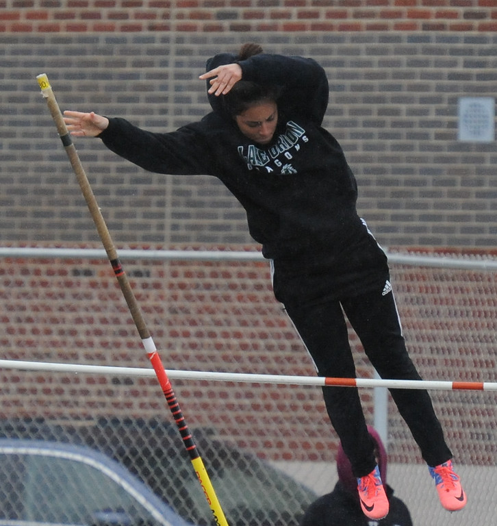""". Heather DeSamper of Lake Orion placed 4th in the pole vault event clearing 9\' 0\"""" during the 45th annual Ashley/Brennan Relays that were held on Saturday April 28, 2018 at Waterford Mott HS.  Lake Orion won both the boys and girls title. (Oakland Press photo by Ken Swart)"""