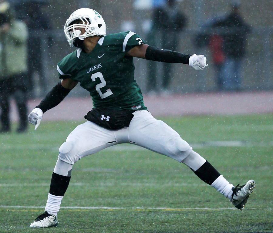 . Richard Sanders (2), West Bloomfield, celebrates after a fumble recovery during Division 1 semifinal football action against Detroit Cass Tech at Troy Athens High School Saturday, Nov. 18, 2017. The Lakers defeated Cass Tech in a defensive battle 9-7. (For The Oakland Press / LARRY McKEE)
