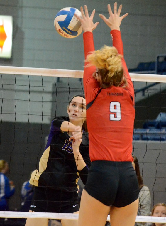 . The Wixom St. Catherine Academy volleyball team suffered a four-set loss to Laingsburg in the Class C semifinal at Kellogg Arena in Battle Creek. (Oakland Press photo gallery by Drew Ellis)