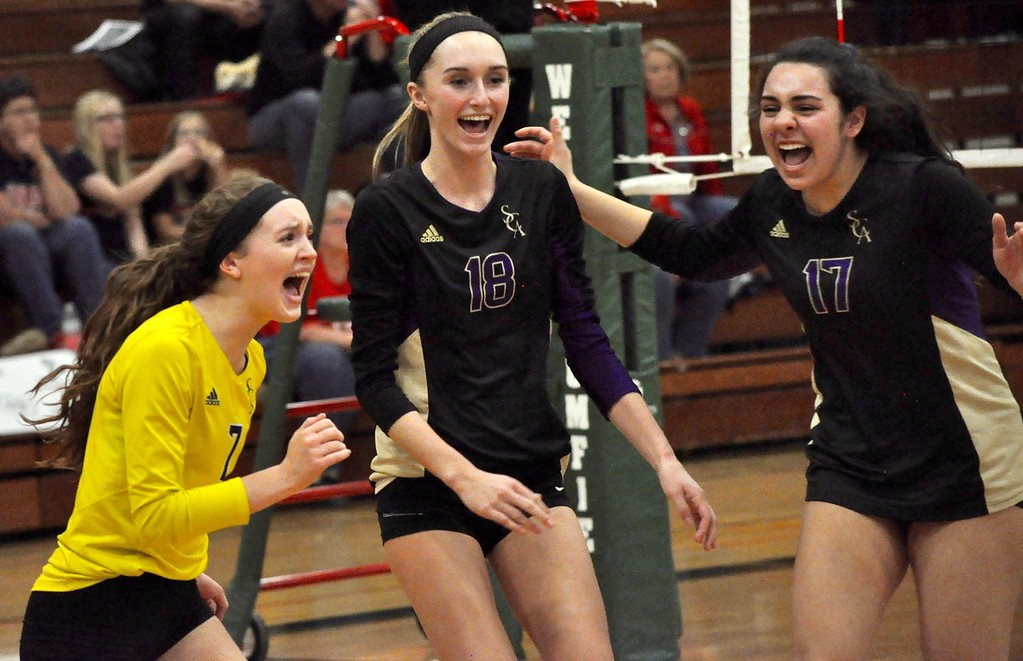 . Wixom St. Catherine of Siena Academy defeated Unionville-Sebewaing in a Class C quarterfinal volleyball match at West Bloomfield High School on Tuesday, Nov. 14, 2017. (Photos by Dan Fenner/The Oakland Press)