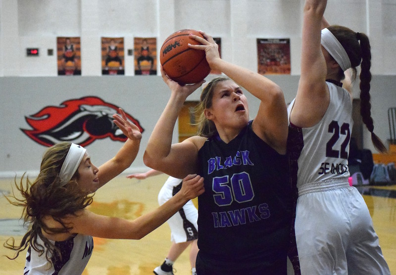 Bloomfield Hills' Amanda Sape (50) is a first-team All-Oakland County selection for 2016-17. (MIPrepZone file photo)