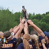 Oxford outlasted Lake Orion in 10 innings in the first game of the day, but couldn't shut down Clarkston's potent offense, as the Wolves won the district title with a 4-0 victory over the Wildcats. (MIPrepZone photo by Matthew B. Mowery)