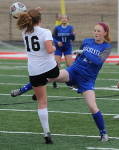 The Rochester Falcons defeated the Romeo Bulldogs 2-0 in the OAA/MAC match played on Monday March 26, 2018 at Romeo High School.  (Digital First Media photo by Ken Swart)