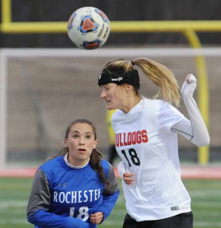 . The Rochester Falcons defeated the Romeo Bulldogs 2-0 in the OAA/MAC match played on Monday March 26, 2018 at Romeo High School.  (Digital First Media photo by Ken Swart)