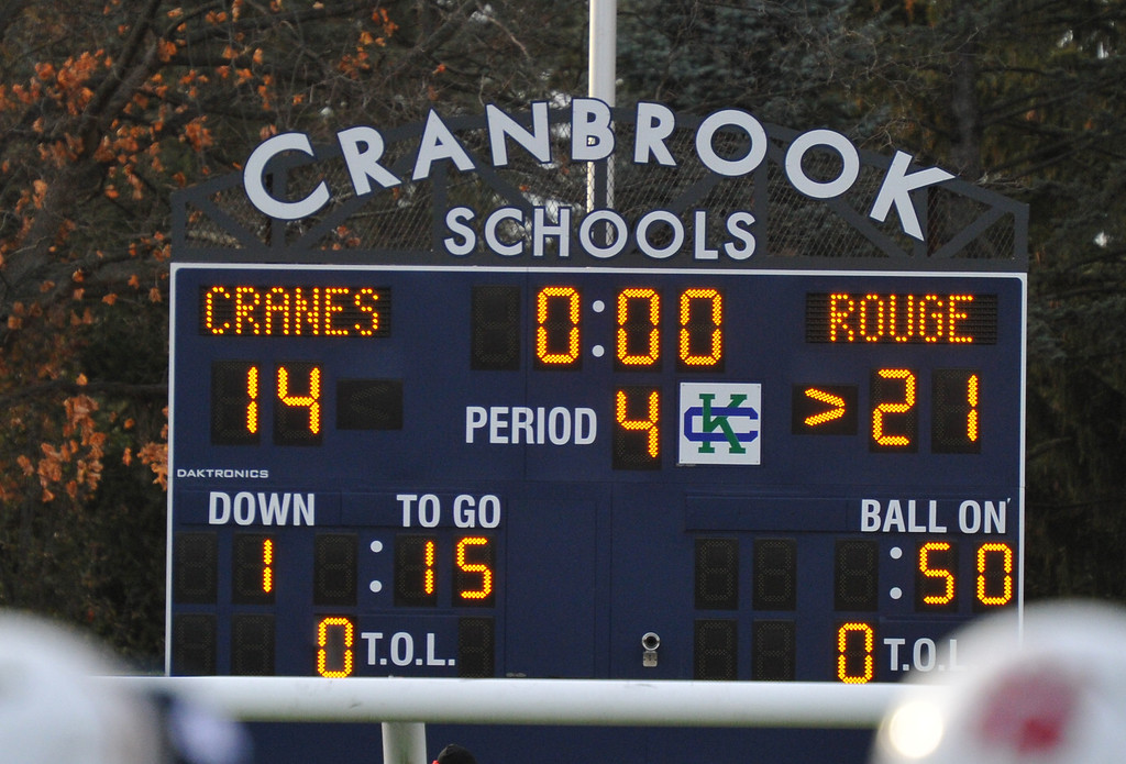 . The River Rouge Panthers defeated the Cranbrook Kingswood Cranes 21-14 to win the MHSAA D4 Regional Title.  The game was played on Saturday November 11, 2017 at Cranbrook.  (Digital First Media photo by Ken Swart)