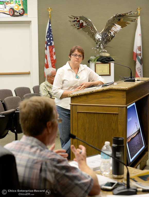 . Oroville Area Chamber of Commerce President - CEO Sandy Linville speaks while members of the Oroville Recreation Advisory Committee ORAC talk with DWR representatives during the 196th meeting of the group at the Oroville City Council Chambers in Oroville, Calif. Friday July 21, 2017. Following the meeting agenda schedule the group discussed tourism and recreation, lake conditions and projections, recreational projects status and voted on a request to delay the FERC license. (Bill Husa -- Enterprise-Record)