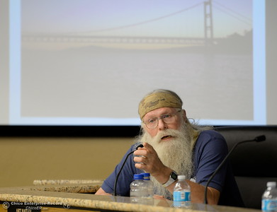 Doug Poppelreiter make a point while members of the Oroville Recreation Advisory Committee/ORAC talk with DWR representatives during the 196th meeting of the group at the Oroville City Council Chambers in Oroville, Calif. Friday July 21, 2017. Following the meeting agenda schedule the group discussed tourism and recreation, lake conditions and projections, recreational projects status and voted on a request to delay the FERC license. (Bill Husa -- Enterprise-Record)