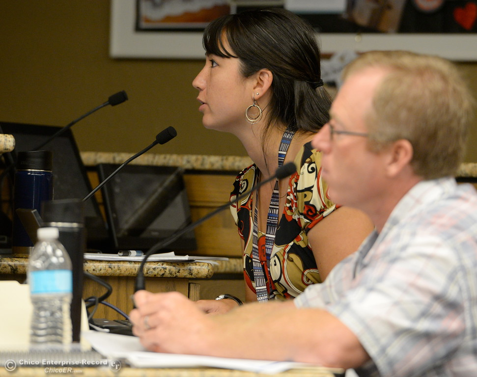 . DWR representatives Alyssa Stutz and Eric See talk with members of the Oroville Recreation Advisory Committee/ ORAC during the 196th meeting of the group at the Oroville City Council Chambers in Oroville, Calif. Friday July 21, 2017. Following the meeting agenda schedule the group discussed tourism and recreation, lake conditions and projections, recreational projects status and voted on a request to delay the FERC license. (Bill Husa -- Enterprise-Record)