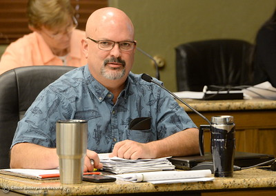 DWR Representative Oroville Field Division Kevin Dossey speaks with members of the Oroville Recreation Advisory Committee ORAC who talked with DWR representatives during the 196th meeting of the group at the Oroville City Council Chambers in Oroville, Calif. Friday July 21, 2017. Following the meeting agenda schedule the group discussed tourism and recreation, lake conditions and projections, recreational projects status and voted on a request to delay the FERC license. (Bill Husa -- Enterprise-Record)