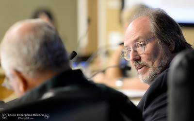Oroville Recreation Advisory Committee/ORAC Chair Kevin Zeitler, right talks with DWR representatives during the 196th meeting of the group at the Oroville City Council Chambers in Oroville, Calif. Friday July 21, 2017. Following the meeting agenda schedule the group discussed tourism and recreation, lake conditions and projections, recreational projects status and voted on a request to delay the FERC license. (Bill Husa -- Enterprise-Record)