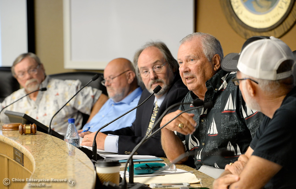 . Members of the Oroville Recreation Advisory Committee/ ORAC, listen while Larry Grundmann makes a point during a talk with DWR representatives during the 196th meeting of the group at the Oroville City Council Chambers in Oroville, Calif. Friday July 21, 2017. Following the meeting agenda schedule the group discussed tourism and recreation, lake conditions and projections, recreational projects status and voted on a request to delay the FERC license. (Bill Husa -- Enterprise-Record)