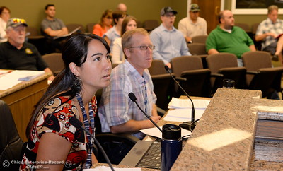 DWR representatives Alyssa Stutz and Eric See talk with members of the Oroville Recreation Advisory Committee/ ORAC during the 196th meeting of the group at the Oroville City Council Chambers in Oroville, Calif. Friday July 21, 2017. Following the meeting agenda schedule the group discussed tourism and recreation, lake conditions and projections, recreational projects status and voted on a request to delay the FERC license. (Bill Husa -- Enterprise-Record)