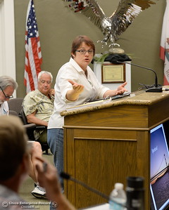 Oroville Area Chamber of Commerce President - CEO Sandy Linville speaks while members of the Oroville Recreation Advisory Committee ORAC talk with DWR representatives during the 196th meeting of the group at the Oroville City Council Chambers in Oroville, Calif. Friday July 21, 2017. Following the meeting agenda schedule the group discussed tourism and recreation, lake conditions and projections, recreational projects status and voted on a request to delay the FERC license. (Bill Husa -- Enterprise-Record)