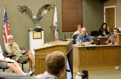 Members of the Oroville Recreation Advisory Committee ORAC talk with DWR representatives during the 196th meeting of the group at the Oroville City Council Chambers in Oroville, Calif. Friday July 21, 2017. Following the meeting agenda schedule the group discussed tourism and recreation, lake conditions and projections, recreational projects status and voted on a request to delay the FERC license. (Bill Husa -- Enterprise-Record)