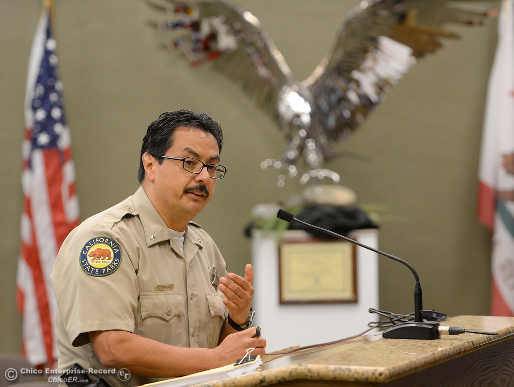 . State Parks Representative E. Guaracha speaks while members of the Oroville Recreation Advisory Committee ORAC talk with DWR representatives during the 196th meeting of the group at the Oroville City Council Chambers in Oroville, Calif. Friday July 21, 2017. Following the meeting agenda schedule the group discussed tourism and recreation, lake conditions and projections, recreational projects status and voted on a request to delay the FERC license. (Bill Husa -- Enterprise-Record)