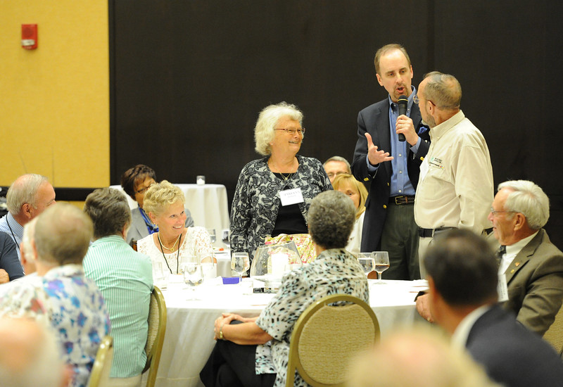 Ohio Rural Electric Cooperatives<br /> Annual Meeting<br /> August 11, 2015<br /> Reception speaker Charles Marshall with Mariann and Gene Royer
