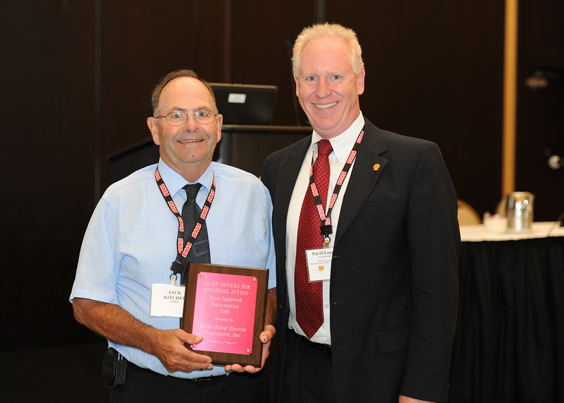 Ohio Rural Electric Cooperatives<br /> Annual Meeting<br /> August 11, 2015<br /> Co-op Owners for Political Action Most Improved Award<br /> Jack Kitchel (Darke REC) and Pat O'Loughlin (OREC President and CEO)