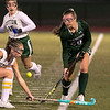 Oakmont Regional High School field hockey played Sutton High School at Grafton High School during the Central Mass. Division 2 semifinals on Wednesday, Nov. 6, 2019. ORHS's #20 Irini Stefanakos and SHS's #4 Celia Firmin. SENTINEL & ENTERPRISE/JOHN LOVE