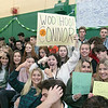 Oakmont Regional High School presented the schools Special Olympics National Banner during the school's Pep Rally on Wednesday, Nov. 27, 2019. Helping cheer on students on the Unified Basketball team is junior Kasey Murdoch. SENTINEL & ENTERPRISE/JOHN LOVE