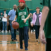 Oakmont Regional High School presented the schools Special Olympics National Banner during the school's Pep Rally on Wednesday, Nov. 27, 2019. Playing with the Unified Basketball team at the school during the pep rally is Madison Niedermeier. SENTINEL & ENTERPRISE/JOHN LOVE
