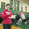 Oakmont Regional High School presented the schools Special Olympics National Banner during the school's Pep Rally on Wednesday, Nov. 27, 2019. Stephanie Esposito the director of development for the Special Olympics addresses the school at the pep rally as they present SENTINEL & ENTERPRISE/JOHN LOVE
