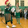 Oakmont Regional High School presented the schools Special Olympics National Banner during the school's Pep Rally on Wednesday, Nov. 27, 2019.The master of ceremonies junior Irini Stefanakos and senior Max Charbonneau wear the Spartans uniform during the pep rally. SENTINEL & ENTERPRISE/JOHN LOVE