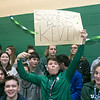 Oakmont Regional High School presented the schools Special Olympics National Banner during the school's Pep Rally on Wednesday, Nov. 27, 2019. Holding a sign for Kevin a student on the Unified Basketball team junior Zach LeBlanc. SENTINEL & ENTERPRISE/JOHN LOVE