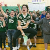 Oakmont Regional High School presented the schools Special Olympics National Banner during the school's Pep Rally on Wednesday, Nov. 27, 2019. Sophomore football player #25 Hayden Chatigny and his fellow teammates cheers on his classmates on the Unified Basketball team during the pep rally. SENTINEL & ENTERPRISE/JOHN LOVE