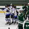 Leominster High School's girls hockey played Oakmont Regional High School on Friday afternoon at the Wallace Civic Center, Fitchburg. LHS celebrates their first goal. SENTINEL & ENTERPRISE/JOHN LOVE