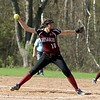 Oarkmont Regional High School softball played Groton dunstable Regional High School on Tuesday afternoon in Ashburnham. GDRHS pitcher Jen Thorburn delivers a pitch during action in the game. SENTINEL & ENTERPRISE/JOHN LOVE